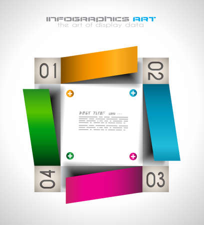 pie chart graph: Infographic design template with paper tags. Idea to display information, ranking and statistics with orginal and modern style.