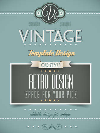 book cover: Vintage retro page template for a variety of purposes: website home page, old style flyers, book covers or vintage posters.