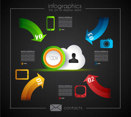 econimics: Infographic Template for Cloud computing data rapresentation  Design elements for statistic data display and resourses ranking