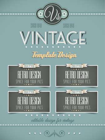 copertine libri: Vintage modello di pagina retr� per una variet� di scopi home page del sito, vecchi volantini di stile, copertine di libri e manifesti d'epoca Vettoriali