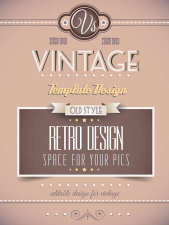 vintage document: Vintage retro page template for a variety of purposes  website home page, old style flyers, book covers or vintage posters