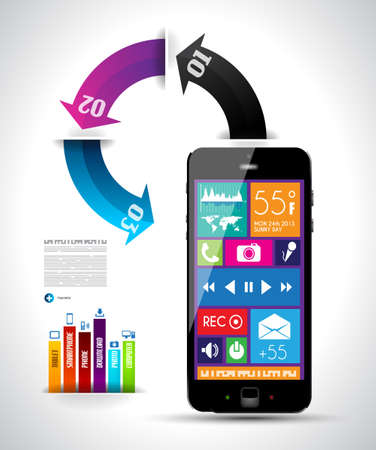 econimics: Modern Infographic with a touch screen smartphone in the middle  Design elements and space for text are available in single color squares over the screen  Cloud computng concept
