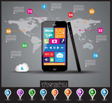 Modern Infographic with a touch screen smartphone in the middle Design elements and space for text are available in single color squares over the screen Cloud computng concept