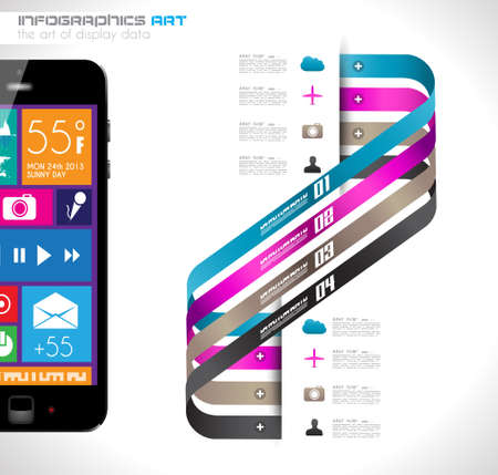 Modern Infographic with a touch screen smartphone in the middle  Design elements and space for text are available in single color squares over the screen  Cloud computng concept  Vector