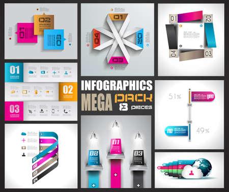 elements: Plantillas de diseño Infografía etiquetas de papel collectionwith. Idea para mostrar la información, clasificación y estadísticas con un estilo original y moderno. 8 piezas.