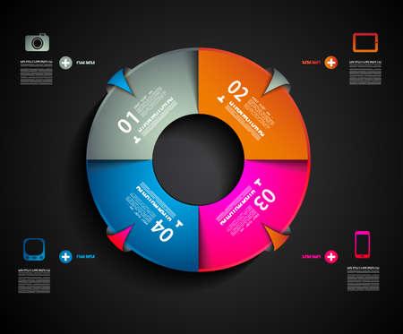 camembert graphique: Mod�le de conception infographique avec des �tiquettes en papier. Id�al pour afficher des informations, le classement et les statistiques avec un style original et moderne. Illustration