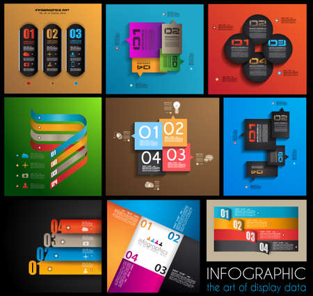 econimics: Infographic design templates collection with paper tags. Idea to display information, ranking and statistics with orginal and modern style. 9 pieces.