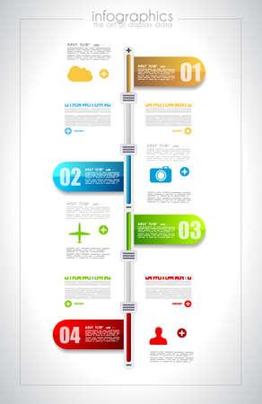 Infografica modello di progettazione timeline con etichette di carta. Idea per visualizzare le informazioni, classifica e statistiche con stile originale e moderno.