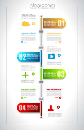 graphics: Infographic timeline design template with paper tags. Idea to display information, ranking and statistics with orginal and modern style. Illustration