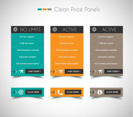 info button: Web price shop panel with space for text and buy now button. Clean design and uniform colors with delicate shadows. Ideal for ecommerce cart.
