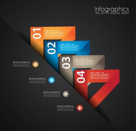 econimics: Infographic design template with paper tags. Ideal to display information, ranking and statistics with orginal and modern style.