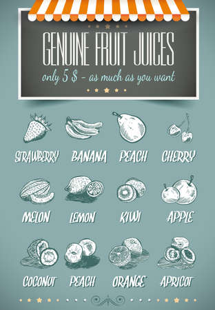 Retro style template for genuine fruit juices menu - coconut,cherry,apple,peach,strawberry and more.  Vector