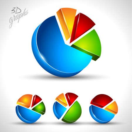 contraste: Diagrama circular 3D de infograf�a o la visualizaci�n de los datos de porcentaje. 4 graph diferente con colores de alto contraste