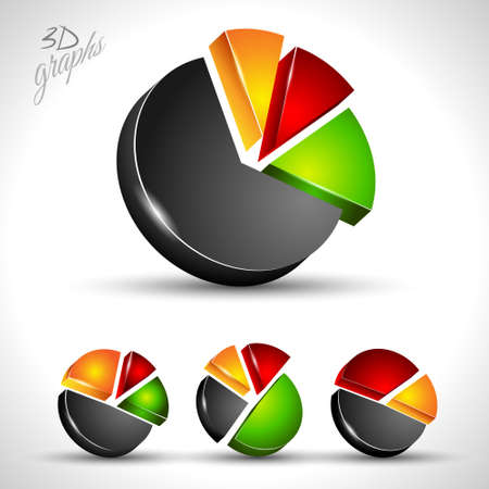 3d pie diagram for infographic or percentage data display. 4 different graph with high contrast colors Vector
