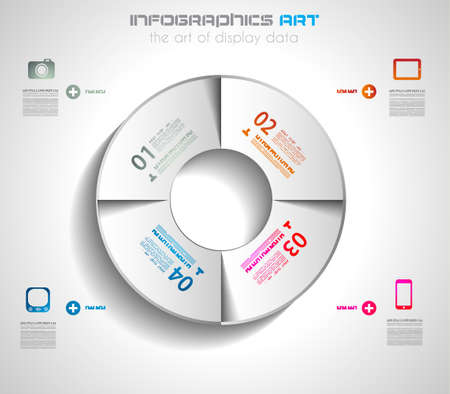 pie chart graph: Infographic design template with paper tags. Ideal to display information, ranking and statistics with orginal and modern style.