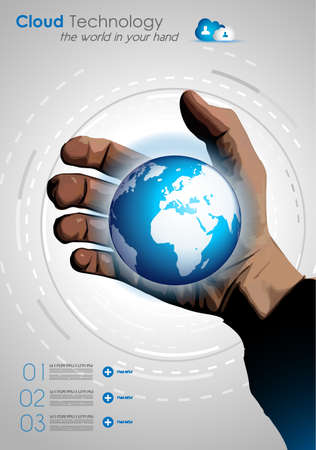 Cloud concept infographics with a real hand and a glowing globe on Europe side. Vector
