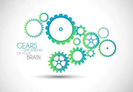 gears: Concepto mecánico ilustración Gear. Se puede utilizar para mostrar cómo el trabajo en equipo es importante y cada parte de un proyecto está conectado el uno al otro.