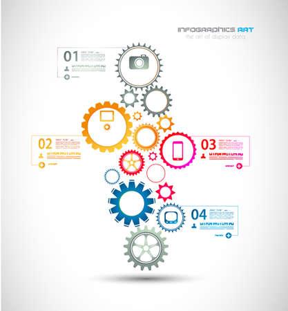 visualize: Modello di disegno di Infographic con catena di ingranaggi. Ideale per visualizzare le informazioni, classifica e statistiche con stile originale e moderno.