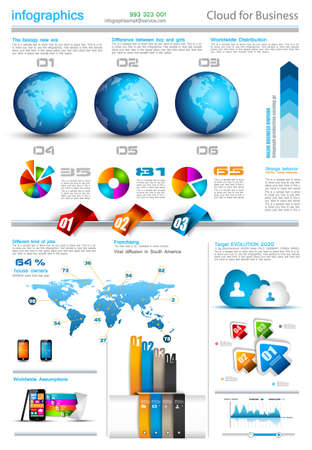 computer graphic: Infographic layout template with world maps. Ideal for global statistics and for every kind of data visualization. Delicate shadows and high costrast colours.