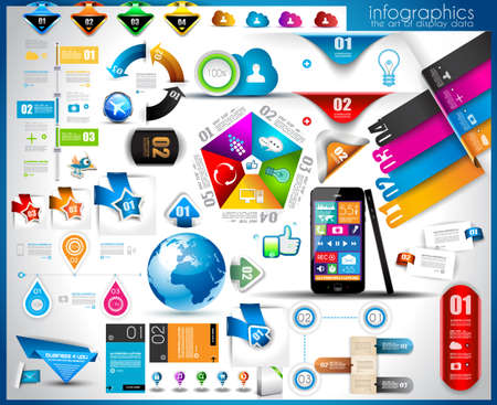 page layout design: Infographic elements - set of paper tags, technology icons, cloud cmputing, graphs, paper tags, arrows, world map and so on. Ideal for statistic data display. Illustration