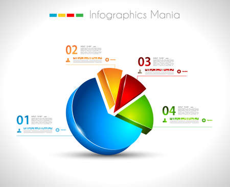 bar graph: Infographic design template with3D pie. Ideal to display information, ranking and statistics with orginal and modern style. Illustration