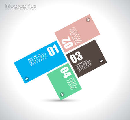 Infographic design template with paper tags. Ideal to display information, ranking and statistics with orginal and modern style. Vector