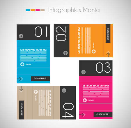 template: Infographic design template with paper tags. Ideal to display information, ranking and statistics with orginal and modern style.