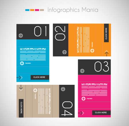 gabarit: Mod�le de conception infographique avec des �tiquettes en papier. Id�al pour afficher des informations, le classement et les statistiques avec un style original et moderne. Illustration