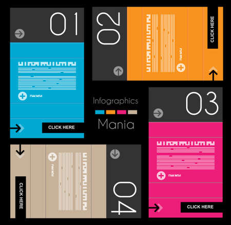 Infographic design template with paper tags. Idea to display information, ranking and statistics with orginal and modern style. Vector