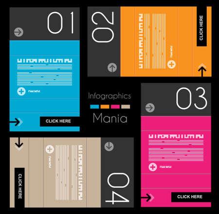 Modello di disegno di Infographic con etichette di carta. Idea per visualizzare le informazioni, classifica e statistiche con stile originale e moderno.