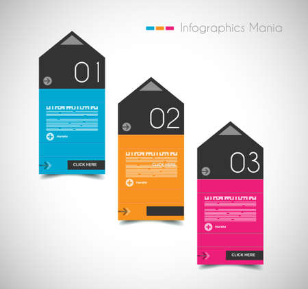 info graphic: Infographic design template with paper tags. Idea to display information, ranking and statistics with orginal and modern style.