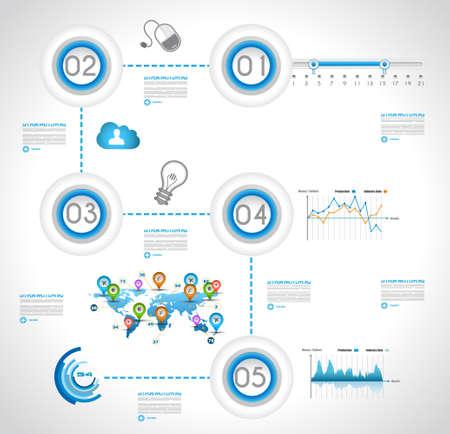 Modello di disegno di Infographic con etichette di carta. Ideale per visualizzare le informazioni, classifica e statistiche con stile originale e moderno.