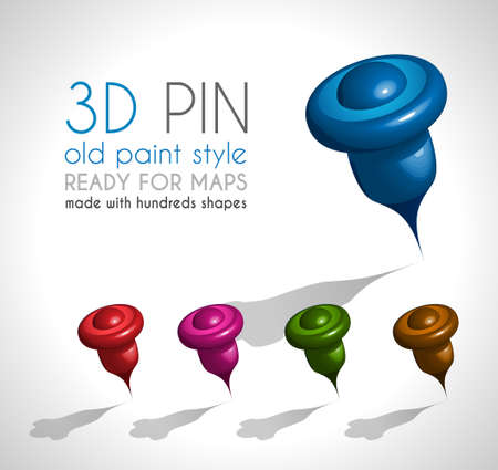 3d pointer: 3d Style pin made wit a lot of shapes and in 5 different colors.