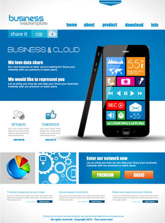 Website template for corporate business and cloud purposes. Ideal for company blogs with high class presence. Vector