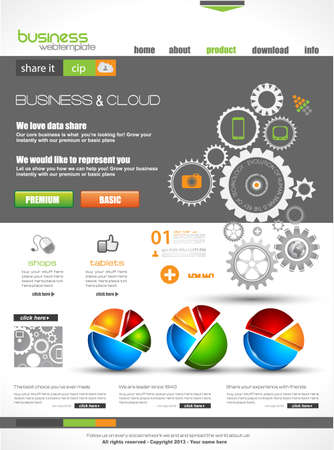 webtemplate: Website template for corporate business and cloud purposes. Ideal for company blogs with high class presence. Illustration