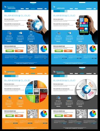 presencia: Sitio Web de la colecci�n 4 plantillas para negocios corporativos y prop�sitos nube. Ideal para los blogs de la compa��a con una alta presencia de clases.