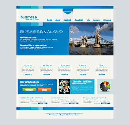 web site template: Website template for corporate business and cloud purposes
