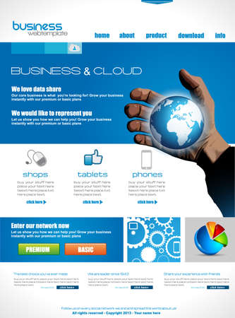 website template: Website template for corporate business and cloud purposes. Ideal for company blogs with high class presence. Illustration