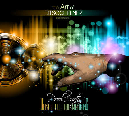 stunning: The Art of Disco Flyer - Stunning Speakers with a pointing hand and a lot of stars and ray lights.