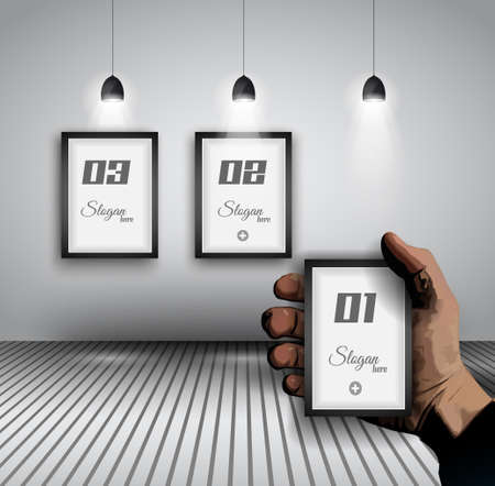featured: Original Infographics - Interior art gallery with 3 solutions on a wall and a hand indicating the best option. delicate shadows.