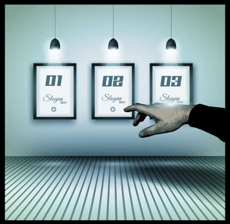 Original Infographics - Interior art gallery with 3 solutions on a wall and a hand indicating the best option. delicate shadows. Stock Vector - 20226843