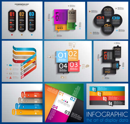 Infographic design templates collection with paper tags. Idea to display information, ranking and statistics with orginal and modern style. 9 pieces. Vector