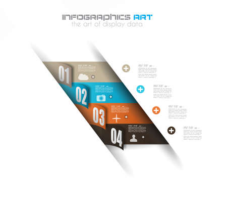 timeline: Infographic design template with paper tags. Ideal to display information, ranking and statistics with orginal and modern style.