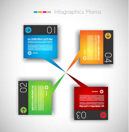 computer graphic design: Infographic design template with paper tags. Ideal to display information, ranking and statistics with orginal and modern style.
