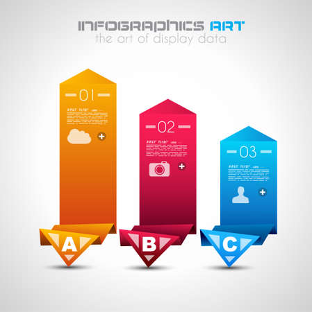 Infographic design template with paper tags. Ideal to display information, ranking and statistics with orginal and modern style. Stock Vector - 20226924