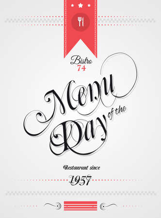 cover menu: Old Style Vintage Menu of the Day background template. Ideal for your daily specialities or for brochure covers.