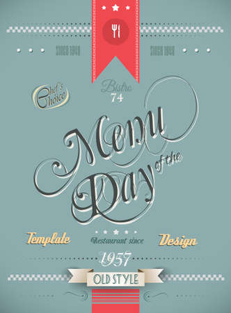 specialities: Old Style Vintage Menu of the Day background template. Ideal for your daily specialities or for brochure covers.