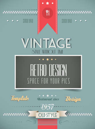 Old Style Vintage Menu of the Day background template. Ideal for your daily specialities or for brochure covers. Vector