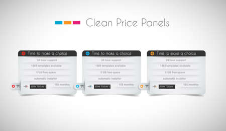 web page elements: Web price shop panel with space for text and buy now button. Clean design and uniform colors with delicate shadows. Ideal for ecommerce cart.
