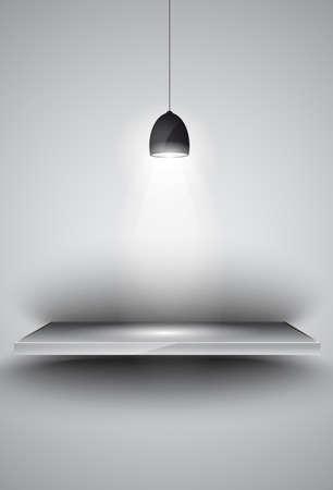 시뮬레이션: 3 SHEF인가요 제품 광고, shopfront 시뮬레이션 또는 벽 장식에 대한 방향 빛 램프를 조명. 일러스트